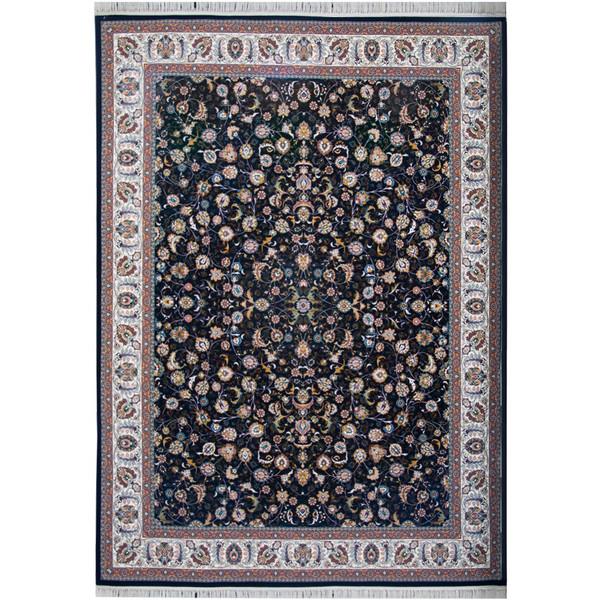 فرش ماشینی احتشامیه طرح افشان درباری زمینه سرمه ای