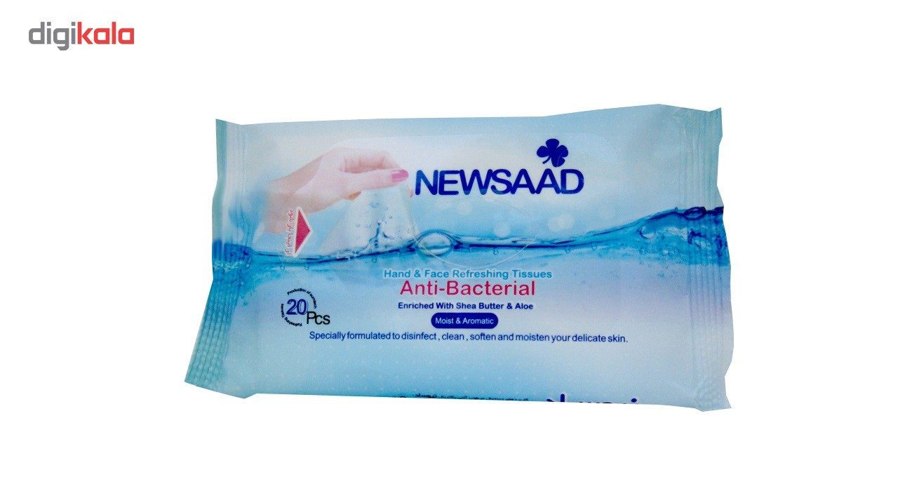 دستمال مرطوب دست و صورت آنتی باکتریال نیوساد مدل بالشتی بسته 20 عددی