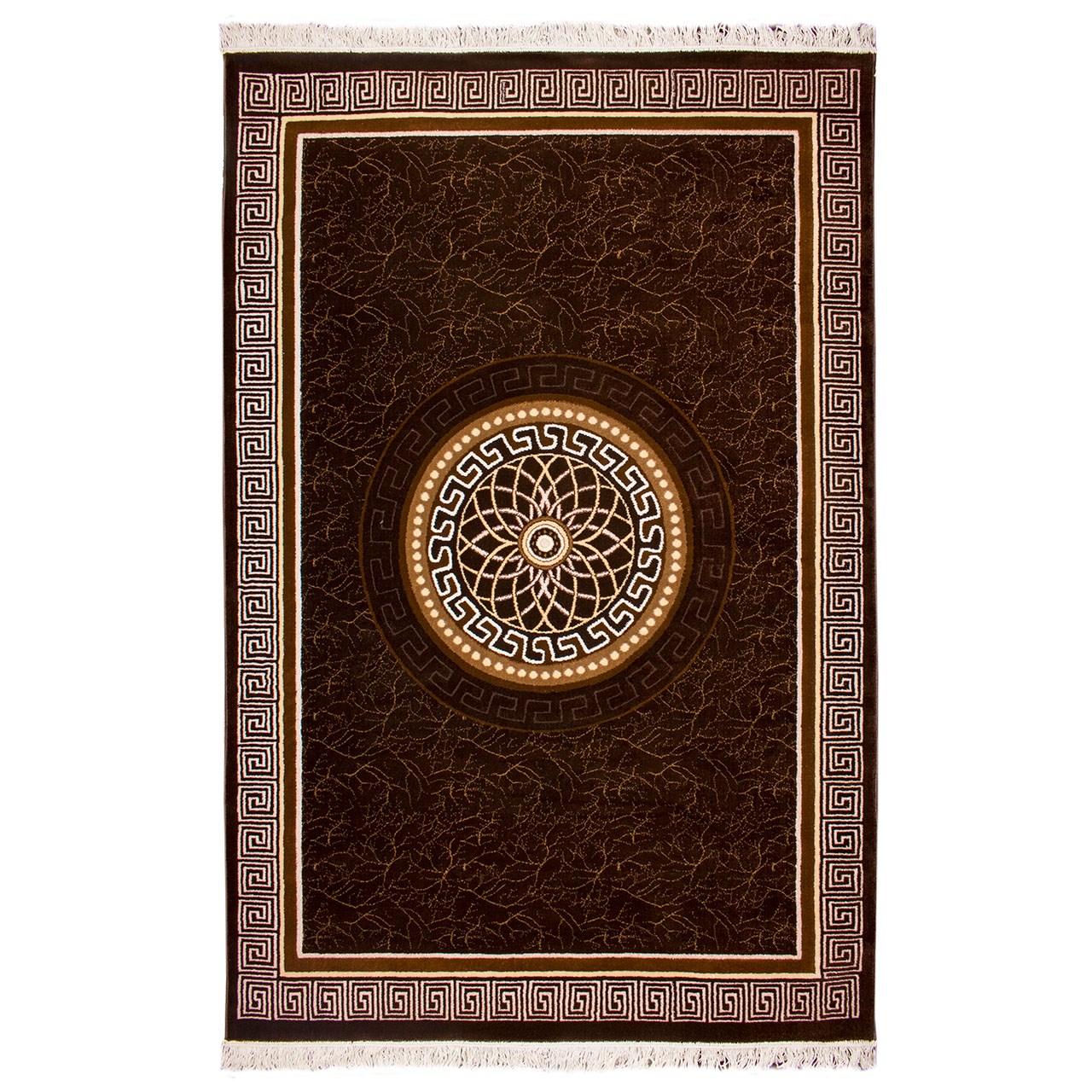 فرش ماشینی قالی دینا طرح ورساچ کد 7080 زمینه قهوه ای