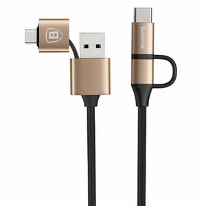 کابل تبدیل USB و MicroUSB به لایتینینگ و MicroUSB باسئوس مدل Multifunctional به طول 1 متر
