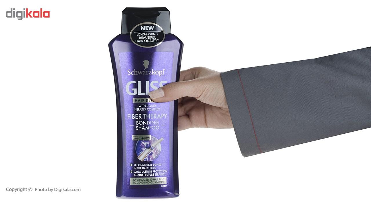 شامپو ترمیم کننده مو گلیس مدل Fiber Therapy حجم 400 میلی لیتر