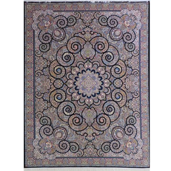 فرش ماشینی پارسه کدFSM110 زمینه سورمه ای