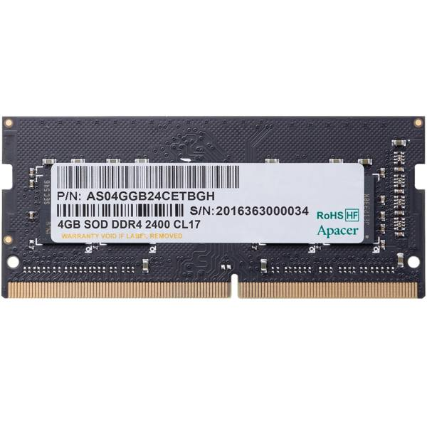 رم لپ تاپ DDR4 تک کاناله 2400 مگاهرتز اپیسر ظرفیت 4 گیگابایت | Apacer DDR4 2400MHz Single Channel Laptop RAM 4GB