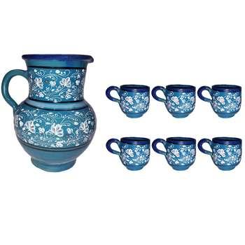 ست پارچ و لیوان سفالی طرح آبی مدل Floral