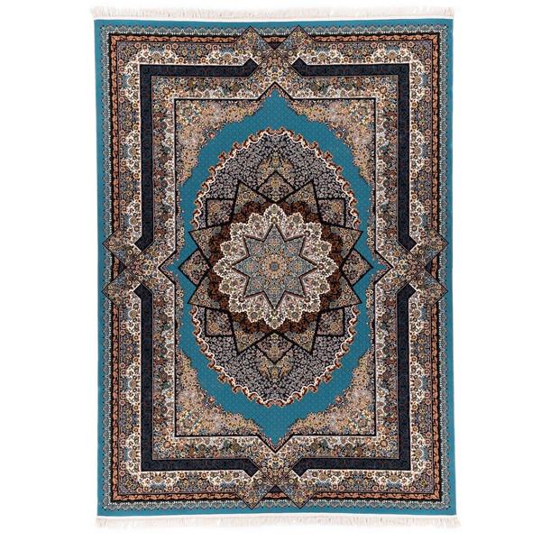 فرش ماشینی آدینا طرح عرفان زمینه آبی