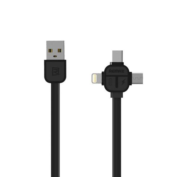 کابل USB به MicroUSB  و Lightening و USB-C ریمکس مدل RC-066th به طول یک متر