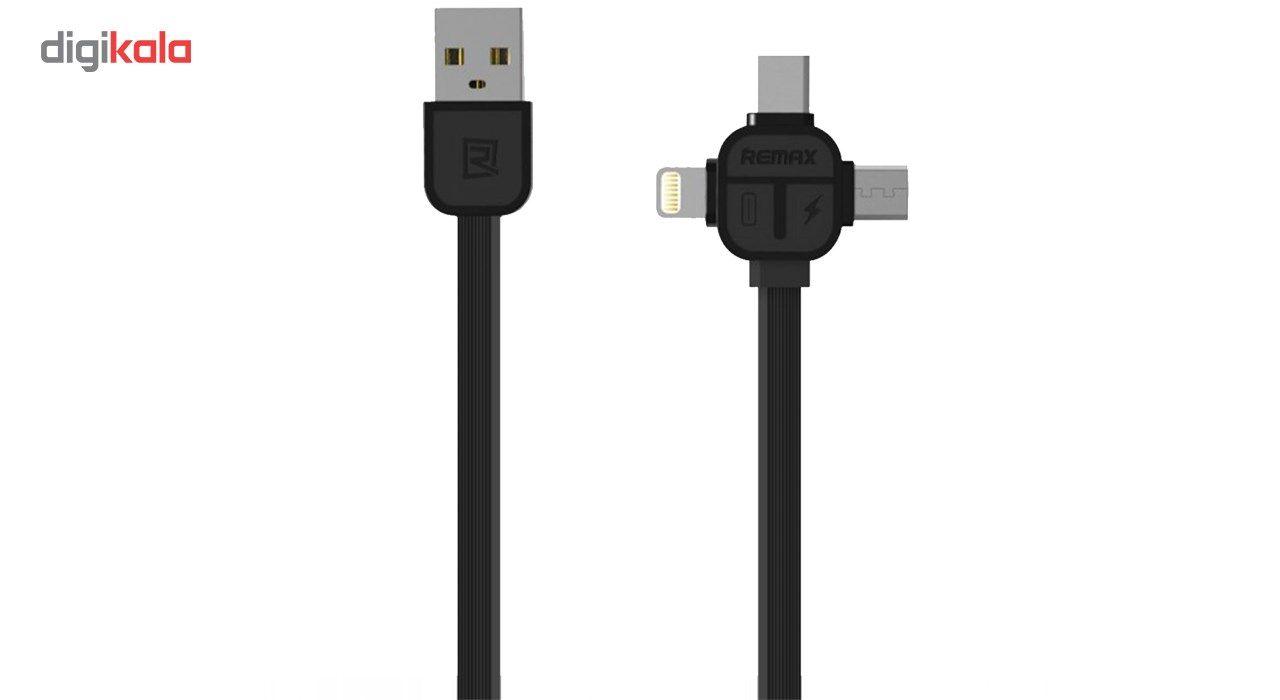 کابل USB به MicroUSB  و Lightening و USB-C ریمکس مدل RC-066th به طول یک متر main 1 1