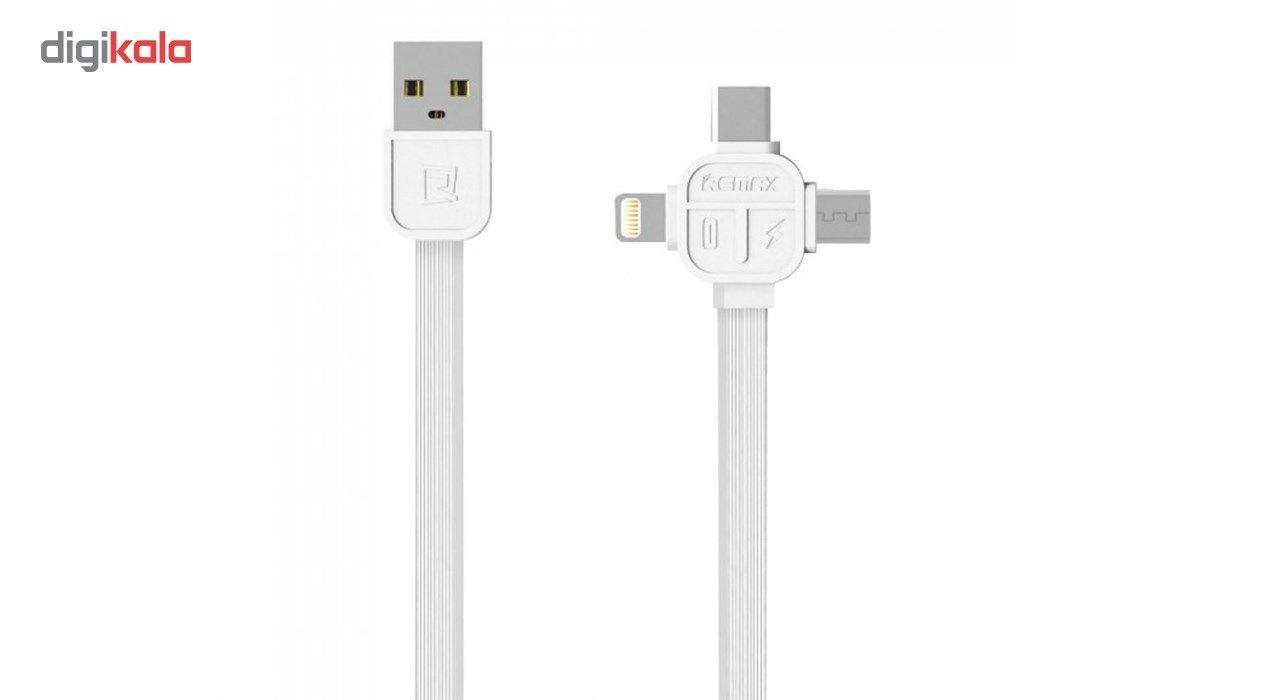 کابل USB به MicroUSB  و Lightening و USB-C ریمکس مدل RC-066th به طول یک متر main 1 2