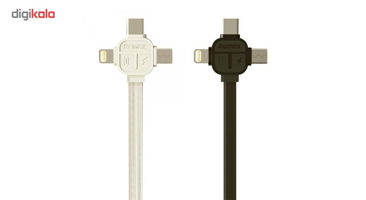 کابل USB به MicroUSB  و Lightening و USB-C ریمکس مدل RC-066th به طول یک متر main 1 3