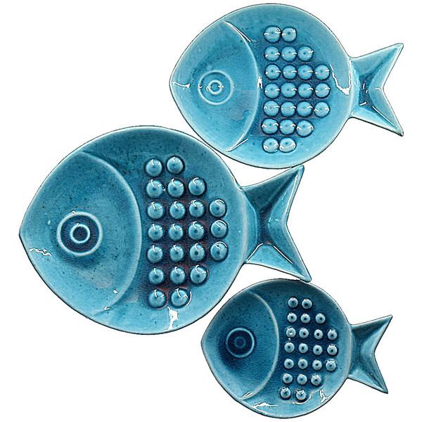 بشقاب سرامیکی ماهی ست 3 عددی گالری گِلَک