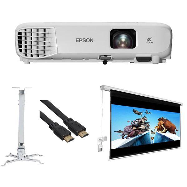 پروژکتور اپسون مدل EB-E01 به همراه پرده نمایش برقی پروژکتور اسکوپ و پایه پروژکتور اسکوپ و کابل HDMI