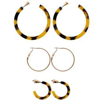 گوشواره زنانه مدل حلقه ای مجموعه سه عددی