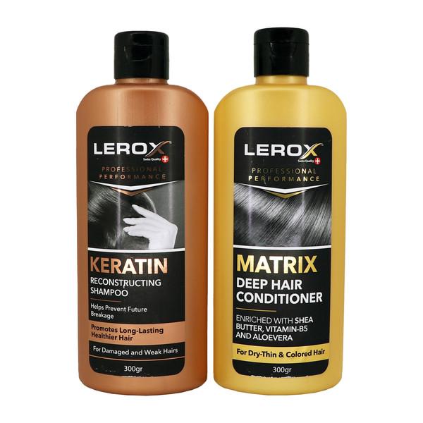 شامپو مو لروکس مدل کراتین حجم 300 میلی لیتر به همراه نرم کننده مو لروکس مدل ماتریکس حجم 300 میلی لیتر