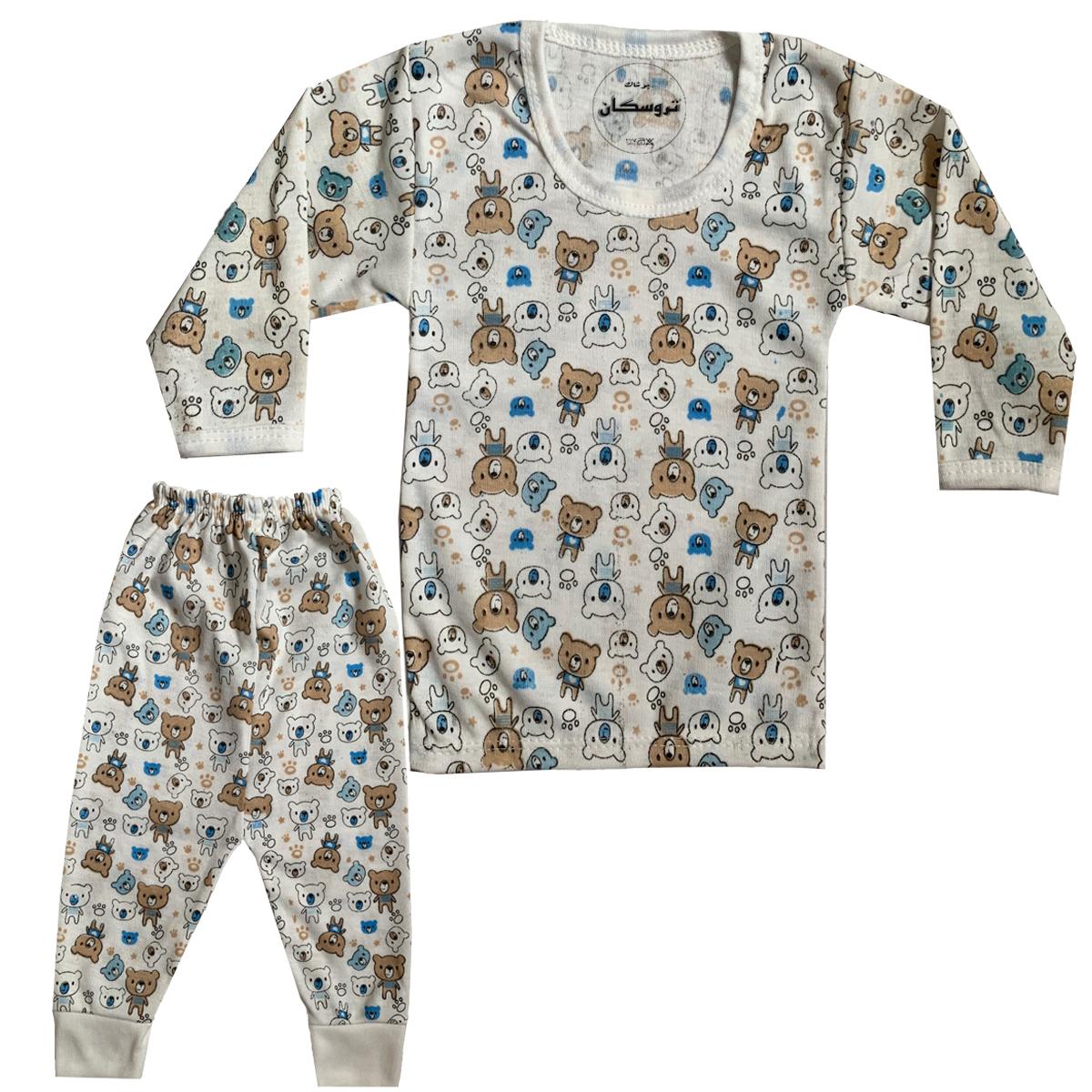 ست تی شرت و شلوار نوزادی تروسکان مدل خرس کوچولو