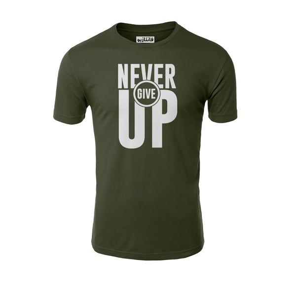 تیشرت آستین کوتاه مردانه فانتازیو مدل 241 طرح Never Give UP کد SBM053