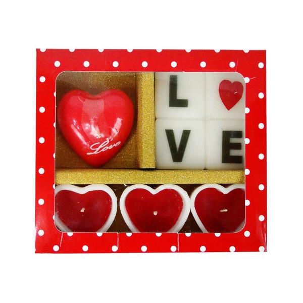 شمع روشنا طرح عشق مدل LO3 بسته 8 عددی