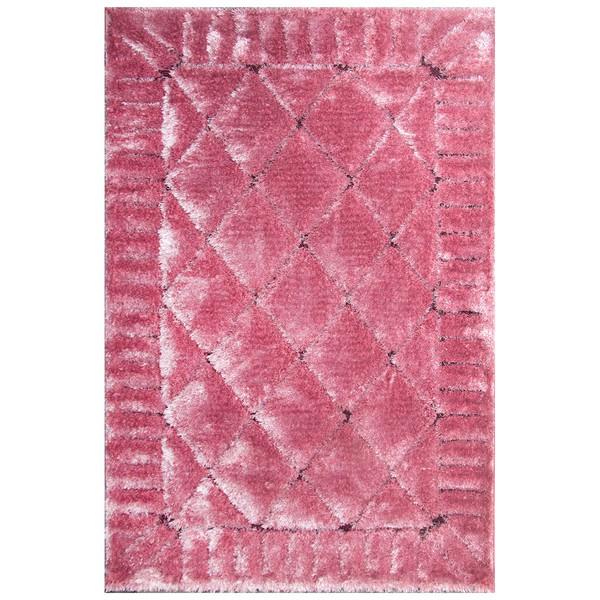 فرش ماشینی شاهکار مشهد طرح الوند شگی کریستال 11022  زمینه صورتی