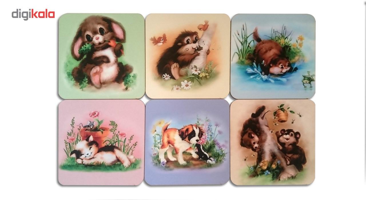 زیرلیوانی ژیوار طرح cute Animal Painting مجموعه 6 عددی