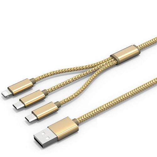 کابل تبدیل USB به MicroUSB و لایتنینگ الدینیو مدل LC85 3 In 1 به طول 1.2 متر