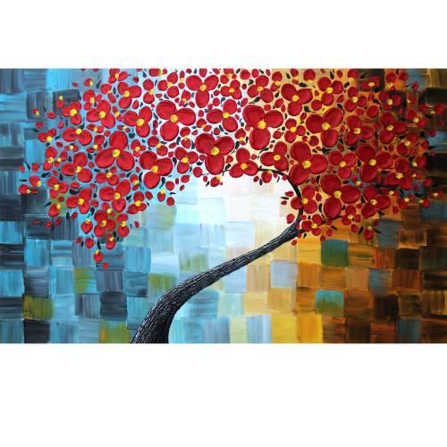 تابلو نقاشی گالری دست نگار طرح شکوفه های برجسته کد 103-07