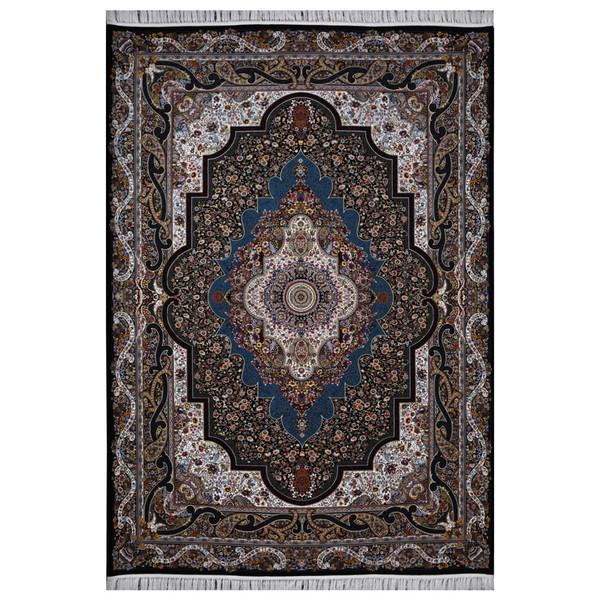 فرش ماشینی فرش هدیه طرح ترمه زمینه سورمه ای
