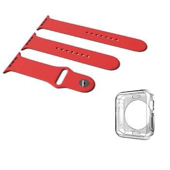 بند سیلیکونی سه تکه مدل Sport Band به همراه یک عدد کاورTPU  مناسب برای اپل واچ 42 میلی متری