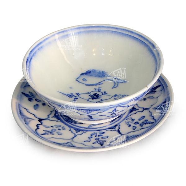 کاسه بشقاب سفالی نقاشی زیر لعابی    رنگ سفید  طرح ماهی  مدل 1003700008