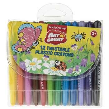 مداد شمعی 12 رنگ اریک کراوزه مدل  Twistable Plastic