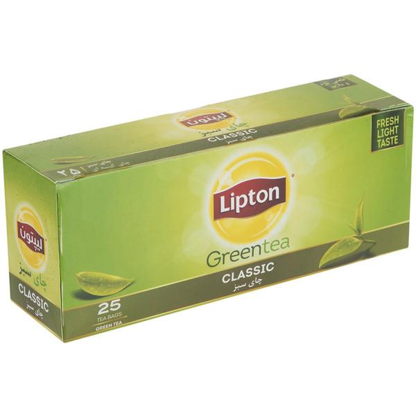 چای سبز کیسه ای لیپتون مدل Classic بسته 25 عددی
