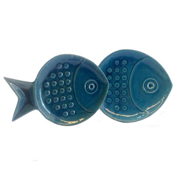 بشقاب سفالی آبی عمیق مدل ماهی مجموعه دو عددی