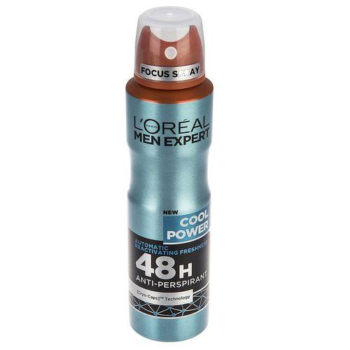 اسپری ضد تعریق مردانه لورآل سری Men Expert مدل Cool Power 48H حجم 150 میلی لیتر