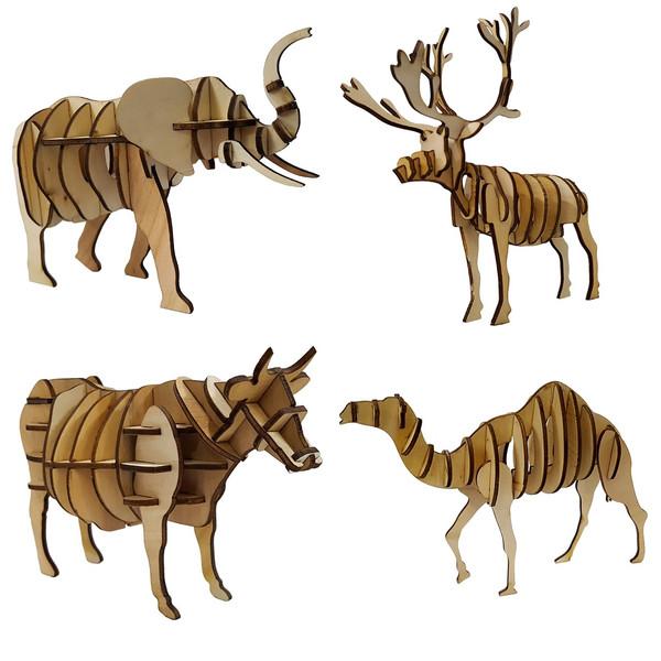 پازل چوبی سه بعدی برتاریو مدل سری حیوانات 3