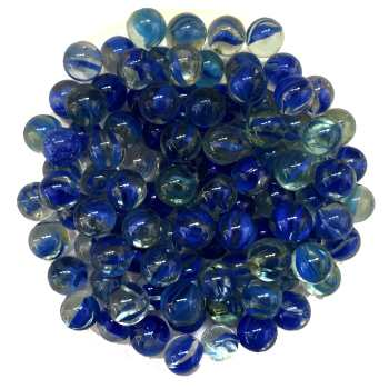 تیله شیشه ای گلدونه مدل سه پر  آبی بسته 100 عددی