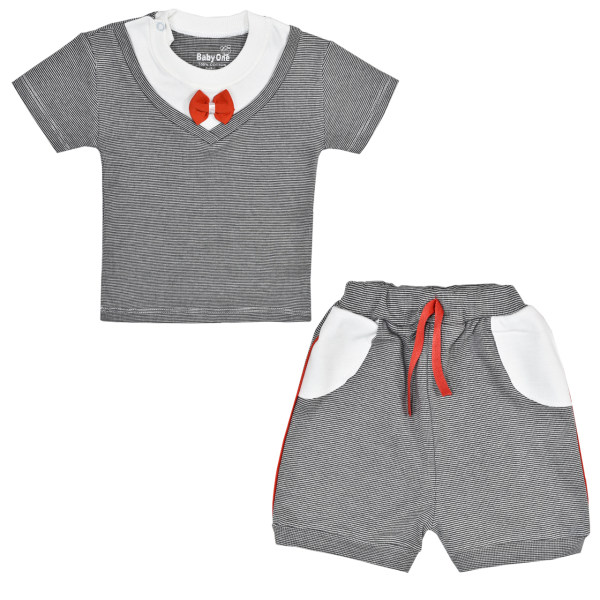 ست تی شرت و شلوارک نوزادی بی بی وان مدل پاپیون کد 1