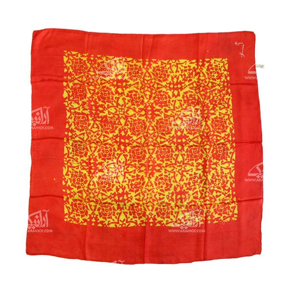 روسری ابریشمی باتیک قواره کوچک قرمز طرح ژاله مدل 1213100006