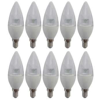 لامپ ال ای دی 5 وات میکروفایر مدل شمعی شفاف پایه E14 بسته 10 عددی