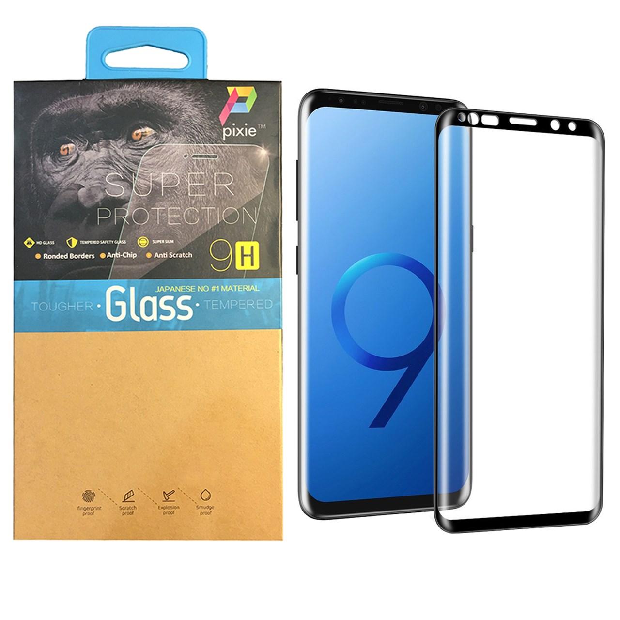 محافظ صفحه نمایش  تمام چسب شیشه ای پیکسی مدل 3D  مناسب برای گوشی سامسونگ گلکسی S9 Plus