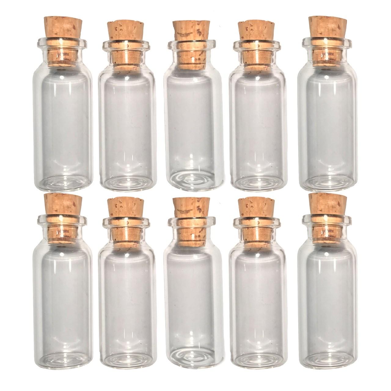 بطری با درب چوب پنبه مدل 15 سی سی - بسته 10 عددی