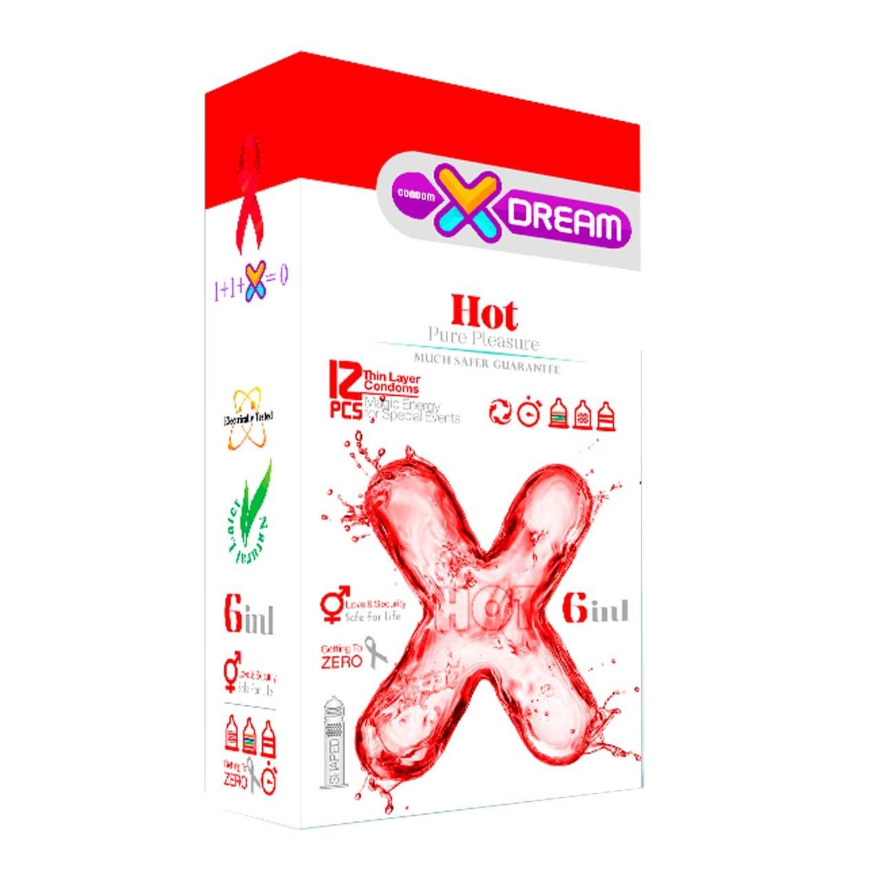 کاندوم ایکس دریم مدلhot 6 in 1 بسته 12 عددی