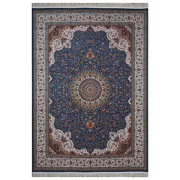 فرش ماشینی  فرش هدیه طرح کاشان زمینه آبی