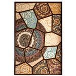 فرش ماشینی ساوین طرح رکسانا کد FSM36 زمینه قهوه ای thumb