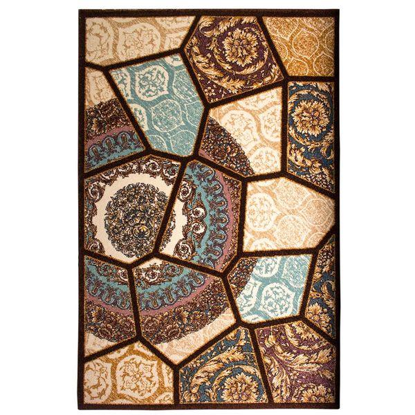 فرش ماشینی ساوین طرح رکسانا کد FSM36 زمینه قهوه ای