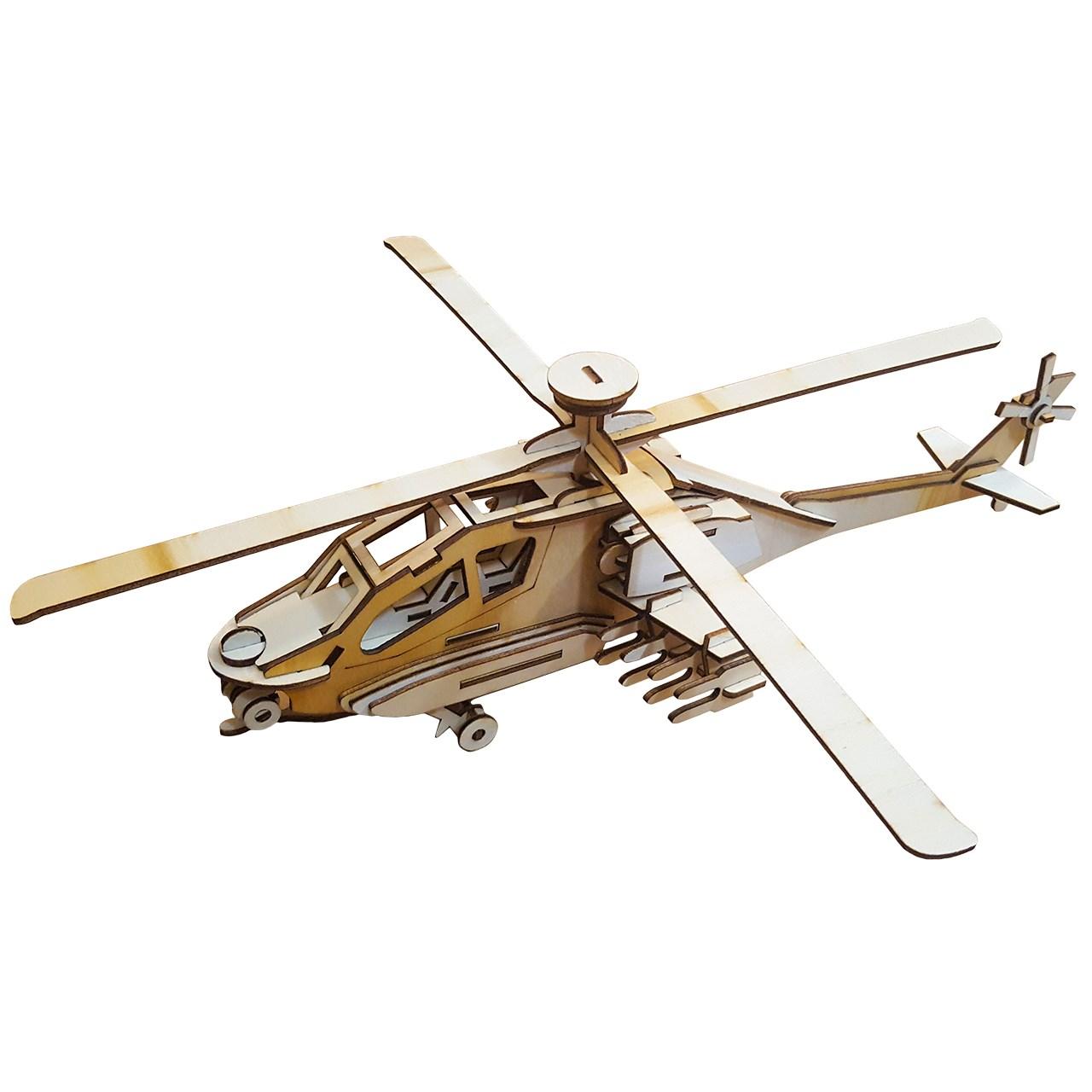 پازل سه بعدی چوبی 85 تکه برتاریو مدل بالگرد آپاچی