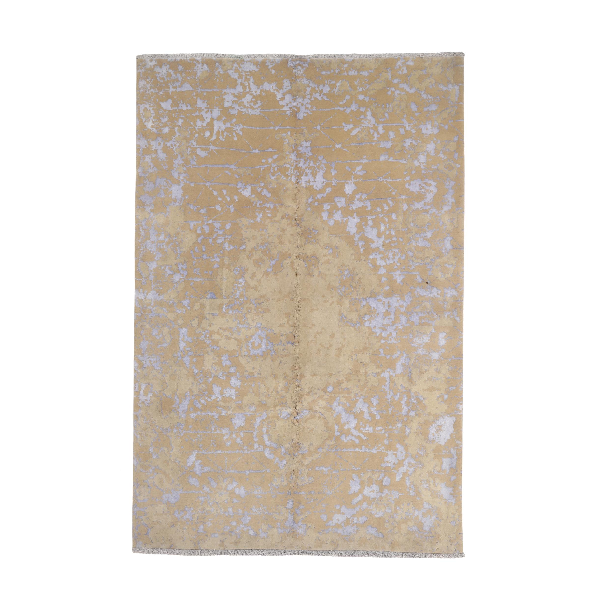 فرش نیمه دستبافت پنج و نیم متری طرح گل ابریشم کد 543898