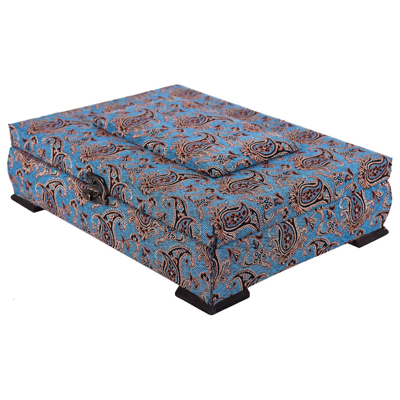 جعبه چوبی پایا چرم طرح ترمه مدل 01-03 سایز بزرگ