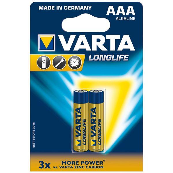 باتری نیم قلمی وارتا مدل LongLife Alkaline LR03AAA بسته 2 عددی