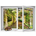 استیکر پنجره مجازی ژیوار طرح حیاط قدیمی