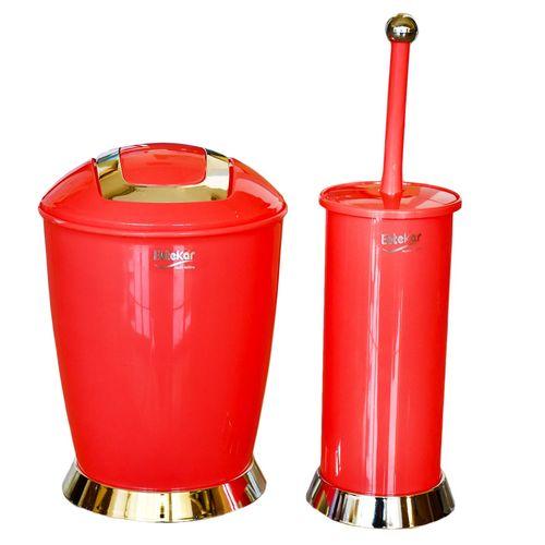 ست سطل زباله و فرچه ابتکار مدل بادبزنی کاملیا  کد EB01002