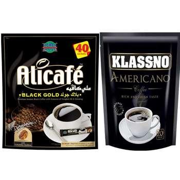 بسته ساشه قهوه علی کافه مدل Black Gold به همراه بسته ساشه قهوه کلسنو مدل Americano