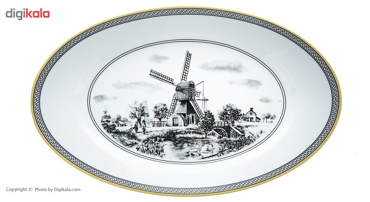 سرویس غذاخوری 28 پارچه چینی زرین ایران سری ایتالیا اف مدل Village 2 درجه یک